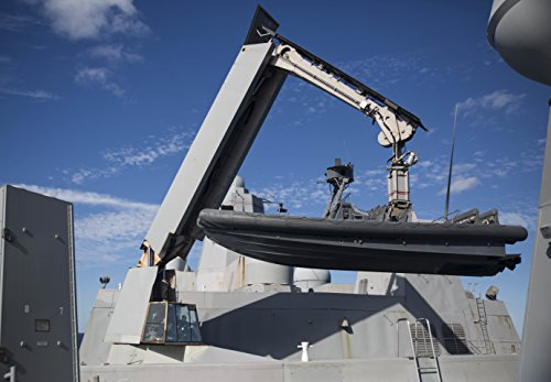 Home Comforts A Knuckle-Boom Crane Lifts a Rigid Hull Inflatable Boat Aboard USS Mesa Verde (LPD 19) Maritime