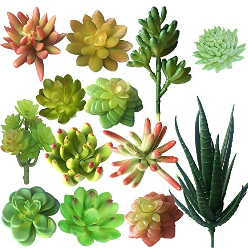 MOORAY Artificial Succulent Flowers Bulk for DIY Wedding Wall Garden Office Party Commercial or Home Decorations,13 Pcs of Faux Succulent Plants