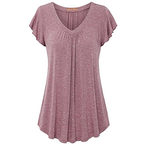 - Minisoya Women Summer Short Sleeve T-Shirt V Neck Pleated Blouse Tops Pullover Casual Ruched Draped Tunic Blouse Shirt (Pink, 2XL)