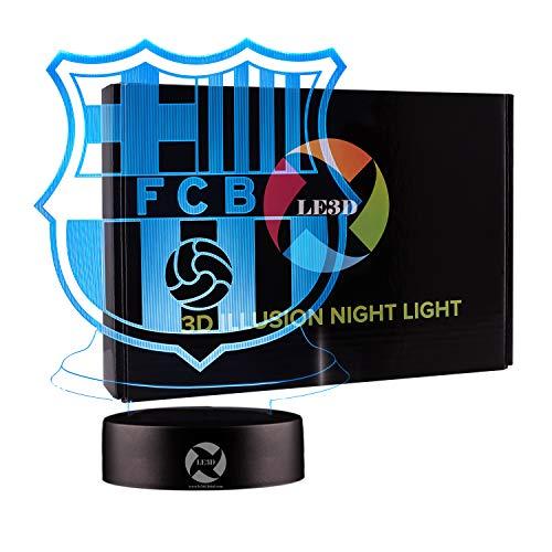 3D Optical Illusion Night Light - 7 LED Color Changing Lamp - Cool Soft Light Safe For Kids - Solution For Nightmares - Soccer Team FC Barcelona