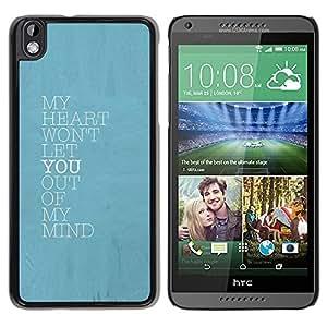 FlareStar Colour Printing Blue Heart Mind Love You Baby Poster cáscara Funda Case Caso de plástico para HTC DESIRE 816