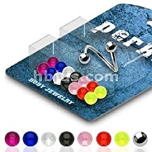 """Eyebrow Body Jewelry Piercing Bar Ring 16G 3/8"""" Twister Spiral Bonus Package with 8 Pairs of Interchangable Assorted Color UV Ball Set Body Accentz®"""