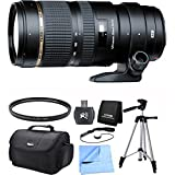Tamron SP 70-200mm F/2.8 DI VC USD Telephoto Zoom Lens for Canon EOS Includes Xit 60'' Full Size Photo / Video Tripod, and More