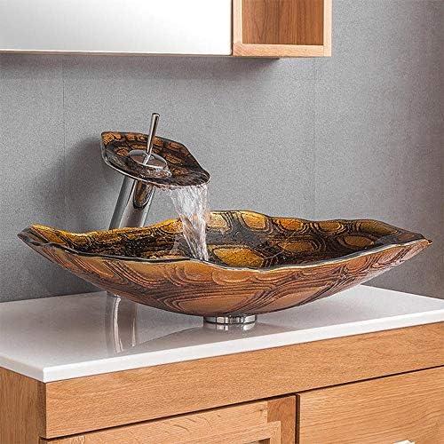 洗面化粧台シンク タートル抽象アート浴室芸術ガラス容器シンクオイルラバーブロンズの蛇口、ポップアップコンボドレイン 和風 洋風 お洒落な 節水 節約 (Color : Orange, Size : 60x43x12cm)