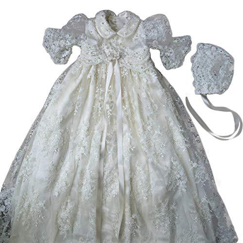 Faiokaver Christening Baptism Dresses Baby Girls Lovely Lapel Dresses with Bonnet White Beading Taffeta Wedding Dress
