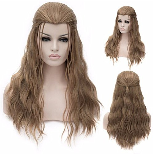 Long Curly Costume Party Wig Cosplay Halloween Synthetic Wigs Come with Wig Cap (Ash -