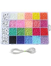Kapmore Bracelet Making Kit Letter DIY Clay Beads 3300PCS Flat Round Colurful Polymer Clay Seed Bead Set Waist Bead Kit for Jewelry