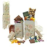 Broadway Basketeers 2 Piece Floral Sweets Gift Set with Chocolate, Sweets & Gourmet Snacks.