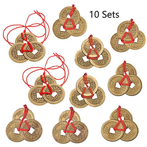 - Aglife 20 Sets Chinese Fortune Coins Feng Shui Coins I-Ching Coins Traditional Coins with Red String for Wealth and Success, 5 Styles