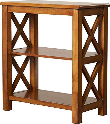 Burnished Cabinet Walnut (MIK Wood Crossed Design Bookcase - 2 Tier Bookcase - Cherry)