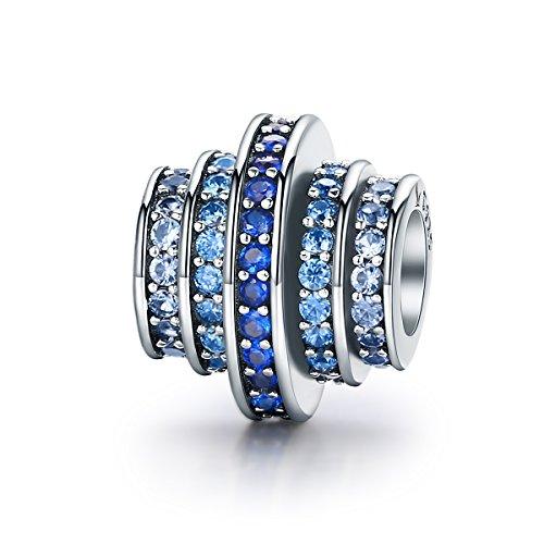 Silver Sterling Bracelet Spiral (BAMOER 925 Sterling Silver Cubic Zirconia Charm for Snake Bracelet (Spiral Charm))