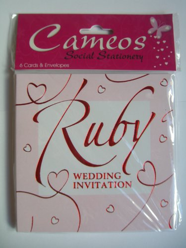 - Ruby Wedding Invitations {40th Anniversary/Cam2011} 6 Cards with Envelopes by Cameos