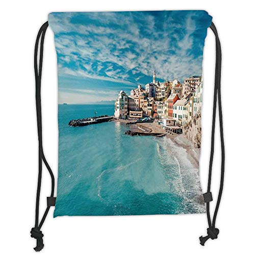 New Fashion Gym Drawstring Backpacks Bags,Farm House Decor,Panorama of Old Italian Fish Village Beach Old Province Coastal Charm Image,Turquoise Soft Satin,Adjustable String Closu