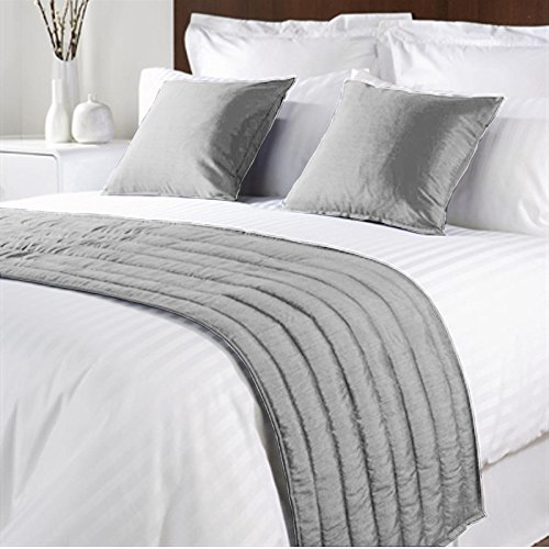 FABRICART LUXURY VELVET BED RUNNER SET | Scarf | Throw | with 2 cushion cover 18'' X 18'' (SILVER, QUEEN - 20 X 76 INCHES)