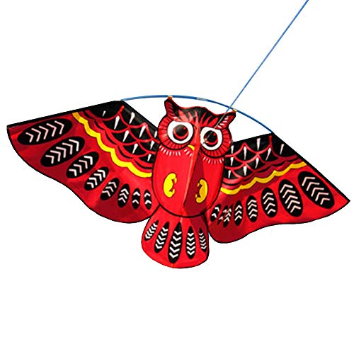 Red Heart Kite - Children Kids Outdoor Colorful Cartoon Owl Easy Flying Kite with 50m Line Toys - Red