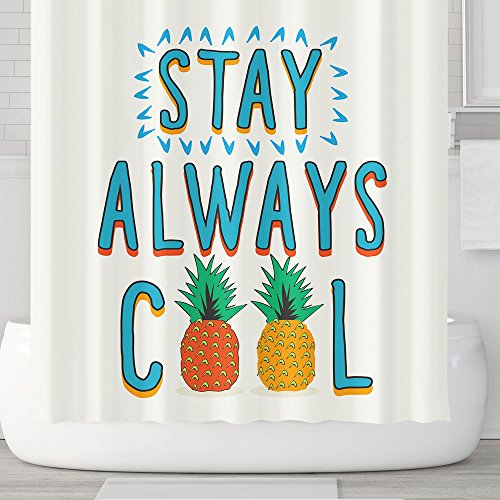 Always Shower (Cute Cartoon Shower Curtains with Hooks, Fruits Letter Stay Always Cool Pineapple, Waterproof mildew Resistant, 72 x 72 inches, Children Bathroom Gift, Blue White (Stay Cool))