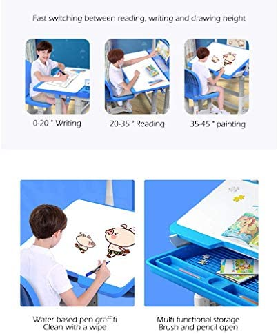 LXTIN Children's Combined Study Table Chair Set Portable Adjustable Desk Plastic Work Table Chair Set Can Be Raised And Lowered