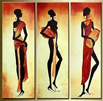 Amazon.com: 100% Hand Painted African Girl Oil Painting 3 Piece Wall ...