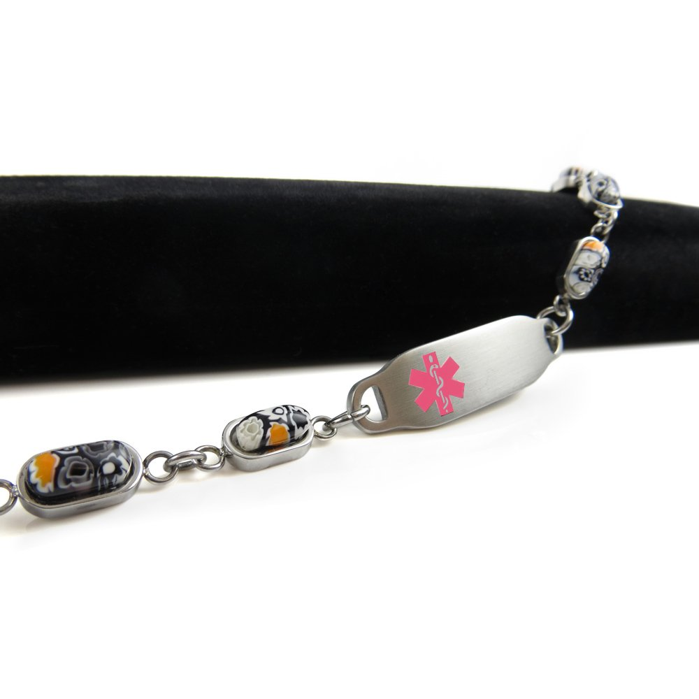 Pre-Engraved /& Customized Compazine Allergy Alert Bracelet My Identity Doctor Black /& White Millefiori Glass Pattern Pink