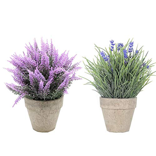 UArtlines 2 Pack Artificial Plastic Mini Plants Topiary Shrubs Fake Plants with Gray Pot for Bathroom,House Decorations,2 Styles (2pcs Pattern 1)