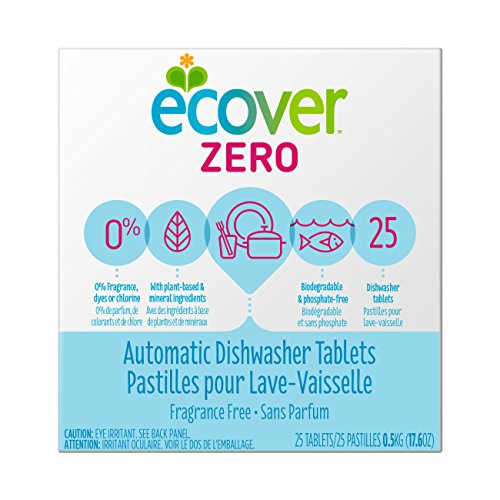 Ecover Automatic Dishwasher Soap Tablets, Zero (Fragrance-Free), 25 Count (Sparkling Natural Clean)