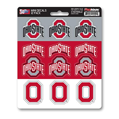 ProMark NCAA Ohio State Buckeyes Decal Set Mini (12 Pack), Team Color, One Size