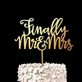 Gold Finally Mr&Mrs Cake Topper Wood Rustic Personalized Wedding Decortion Bridal Shower Gifts Engagement Party Favors