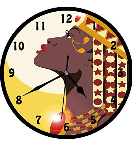 Queen, Beautiful Sexy African Woman Princess with Crown Against Sun Kissing,Wall Clock Nice For Gift or Office Home Unique Decorative Clock Wall Decor 12in with Frame, Yellow Burgundy Dark Mauve