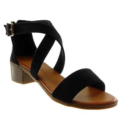 Angkorly Damen Schuhe Sandalen - Knöchelriemen - Schleife - Gekreuzte Riemen Blockabsatz High Heel 4 cm - Schwarz 660-2 T 39 NvVovgRd