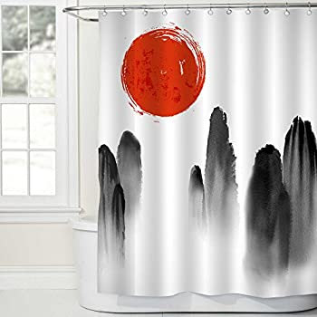 curtain shower Asian hooks black metal