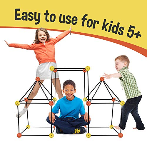 Kit A Fort Build - Construction Fort Building Kit, 77 Pieces+ Storage Bag - Build Castles Tunnels Tents Rocket- Creativity and Teambuilding - Great Discovery of Manual Skills (Orange & Yellow)