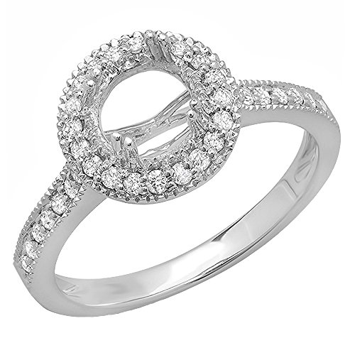 0.35 Carat (ctw) 14K White Gold Round Diamond Ladies Semi Mount Bridal Engagement Ring 1/3 CT (No Center Stone) (Size 5)