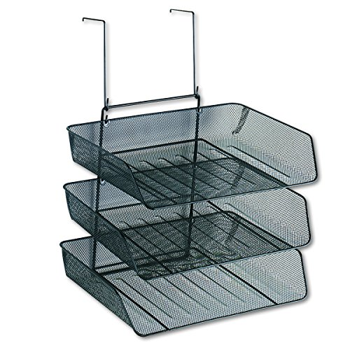 (Fellowes Mesh Partition Additions Triple Tray, Side Load, Letter Size, Black (75902))