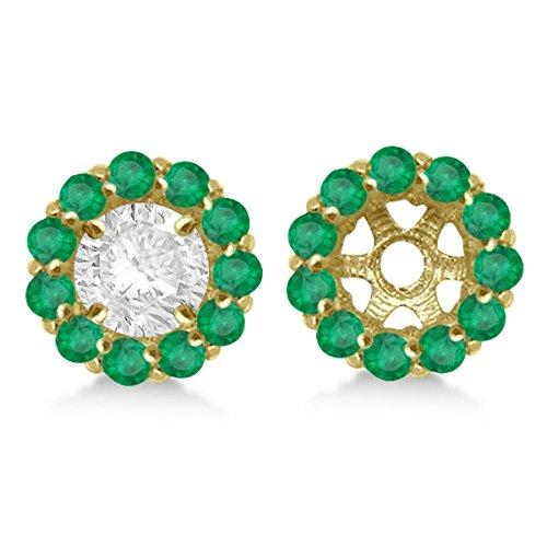 1.08ct Ladies Round Emerald Earring Jackets for 4mm Studs 14K Yellow - Jacket Womens Emerald