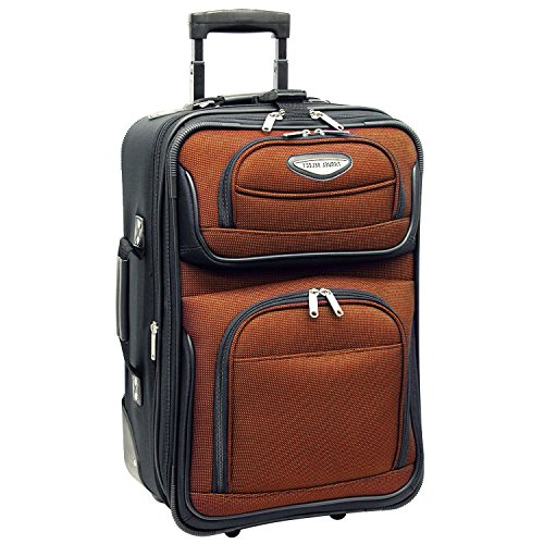 Orange Wheeling Briefcase Carry On Lightweight Rolling Softsided, Polyester - Exclusive Multi Compartment Expandable Briefcase
