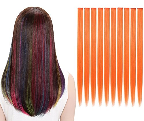 LiaSun 10Pcs/set Multi-Colors Straight Highlight Clip in Hair Extensions 20 Inch Colored Party Hair Pieces(Orange)