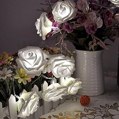 NYKKOLA 20 LED Battery Operated String Flower Rose Fairy Light Wedding Room Garden Christmass Decor