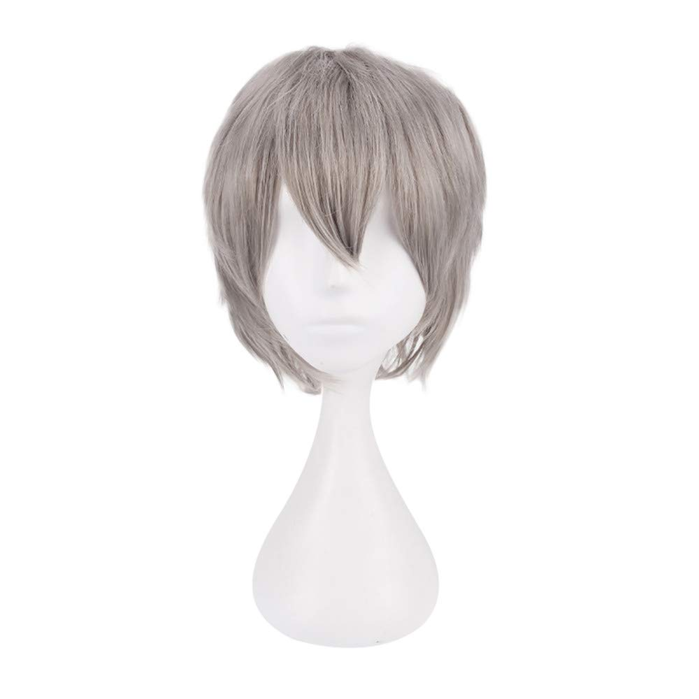 Anime Wigs Cosplay Brown Purple Short Multi Color Straight Hair 35cm Party Halloween (gray)
