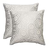 KEYNOTES Silver Fur Throw Pillows Covers 18x18, [Set of 2] Soft Accent Home Decorative 3D Cushions Covers, Square Flower Decoration Throw Pillow Cases Shams with Zipper for Couch Sofa Bed Chair