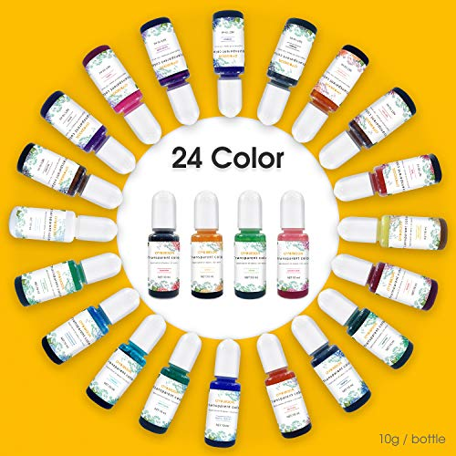 Epoxy Resin Pigment -24 Color Liquid Transparent AB Resin Colorant Highly Concentrated Resin Dye for Art and DIY Jewelry Making,10ml Each