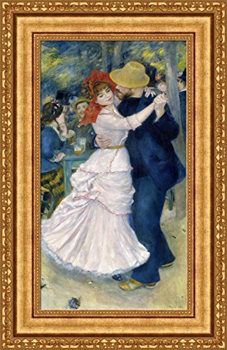 Renoir Dance At Bougival - Pierre Auguste Renoir Dance at Bougival Framed Canvas Giclee Print - Finished Size (W) 18.1'' x (H) 28.1'' [Gold] (V07-32K-MD535-01)