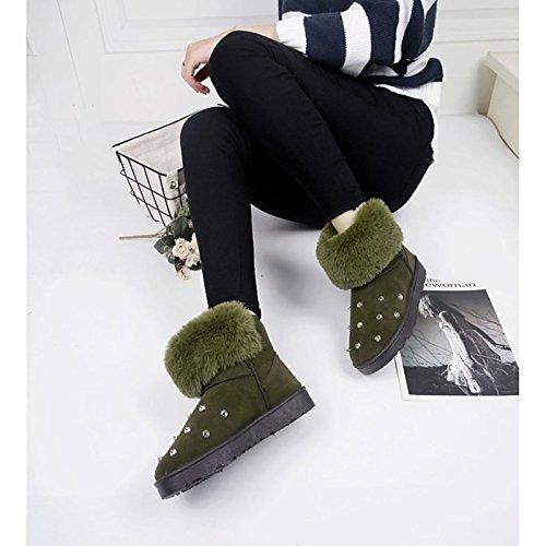 Mujer Planas Zapatos Null Invierno Negro Botas el Botas UK6 Gris Confort de US8 Exterior para UE39 Toe Mid PU HSXZ CN39 Gris Verde ZHZNVX Calf Round 8qznx5wt8