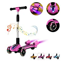 Toddler Kids Kick Scooter 3 Wheel 4 Adjustable Height Scooter, Lean to Steer with PU LED Light Up Flashing Wheels for Children Age 3-12 Years Old
