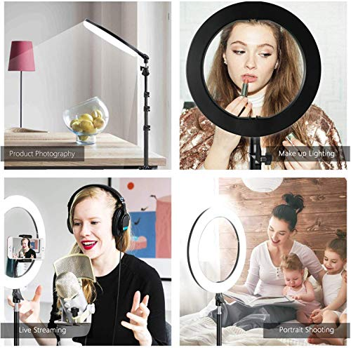 """MountDog Ring Light: 14"""" 3 Color Lights 5600K Dimmable LED Ring Light Kit with Stand, Wireless Remote, Phone Holder and Carrying Bag for Makeup Smartphone YouTube Self-Portrait Shooting 6"""