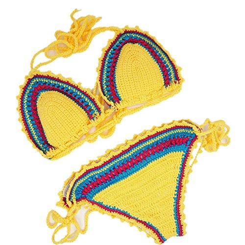 Womens Bikini Crochet Bralette Yellow