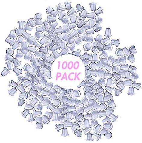 100xSoft Clear Earring Hook Flower Safety Stopper Earnut Silicone Rubber Back ER