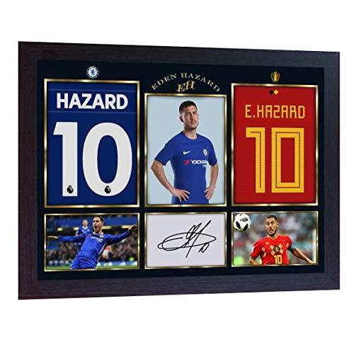 (S&E DESING New Eden Hazard Signed Autograph Photo Print Poster Football Chelsea Framed)