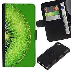 KLONGSHOP // Tirón de la caja Cartera de cuero con ranuras para tarjetas - Frutas Macro Verde Kiwi - Apple Iphone 6 //