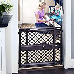 """Toddleroo by North States 42"""" Wide Supergate Ergo Baby Gate: Great for doorways or stairways. Includes Wall Cups for Extra Holding Power. Pressure or Hardware Mount. 26"""" - 42"""" Wide(26"""" Tall,Espresso)"""