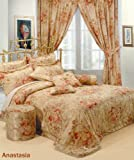 Double Bed Jacquard Anastasia Duvet Cover Bedding Set Gold Red Designer Embroided Embellished